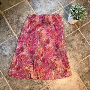 Adrianna Papell Skirt Pink Paisley Ruffle Hem